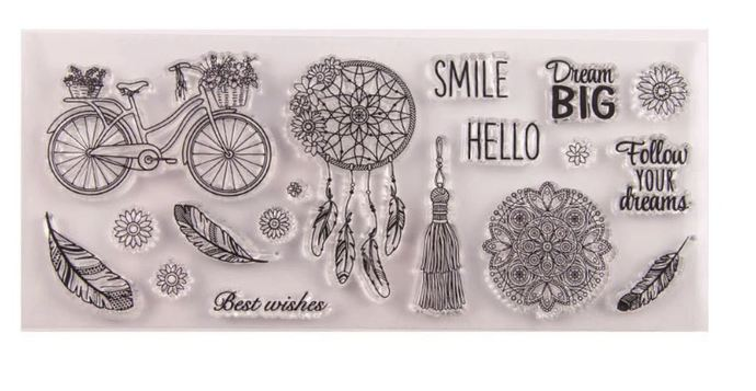 Cute Boho Stamp Set with Bicycle, Dream Catcher, Mandala, Feathers and more!