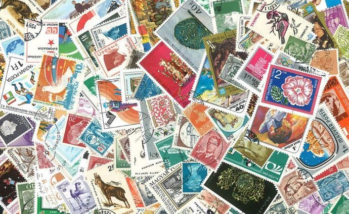 100 Worldwide Postage Stamps (used and unused) - For Crafts!