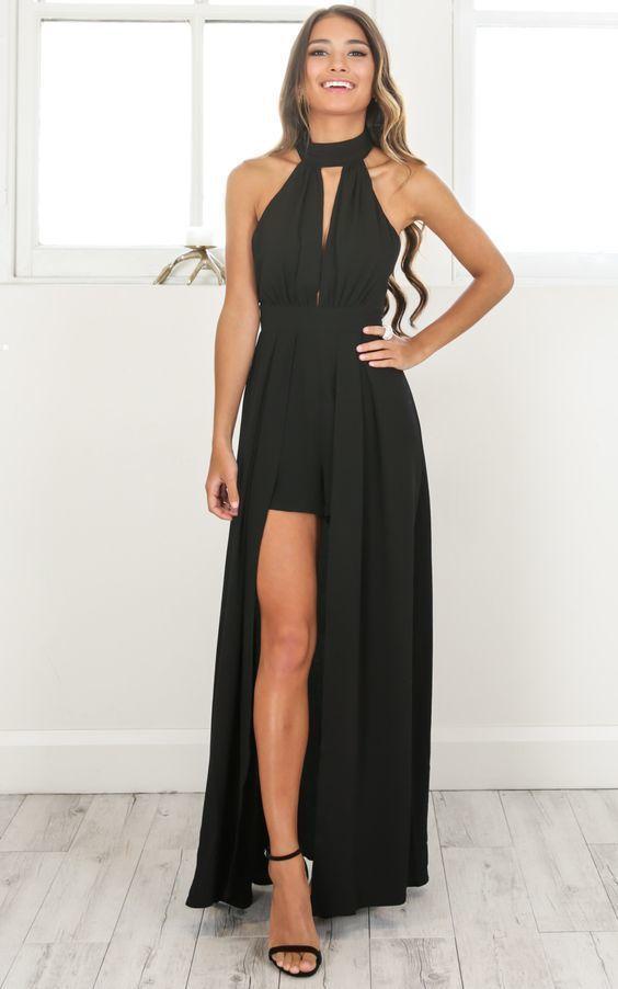 d9fd72b1239 Black Halter Evening Dress