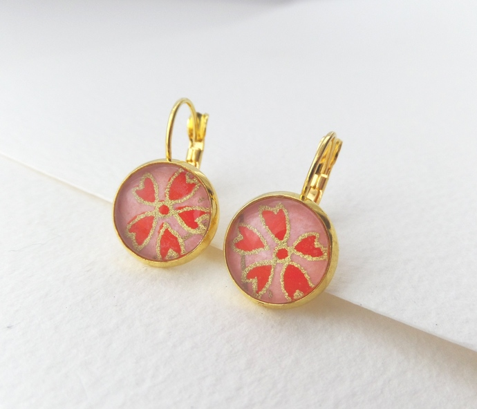 Coral Orange Yellow Gold Earrings, Gold Plated Leverback Earrings, Floral