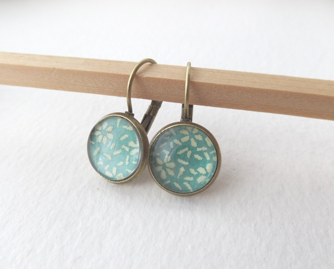 Aqua Ditzy Print Antique Brass Leverback Earrings, Turquoise & Lemon Arty