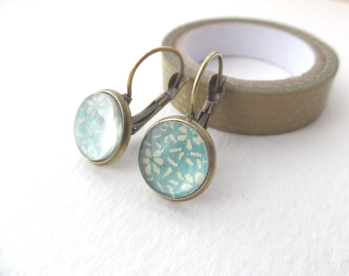 Aqua Ditzy Print Antique Brass Leverback Earrings, Turquoise & Lemon Arty