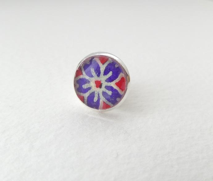 Indigo Blue Flower Tie Tack - Lapel Pin - Japanese flower in blue - blue brooch