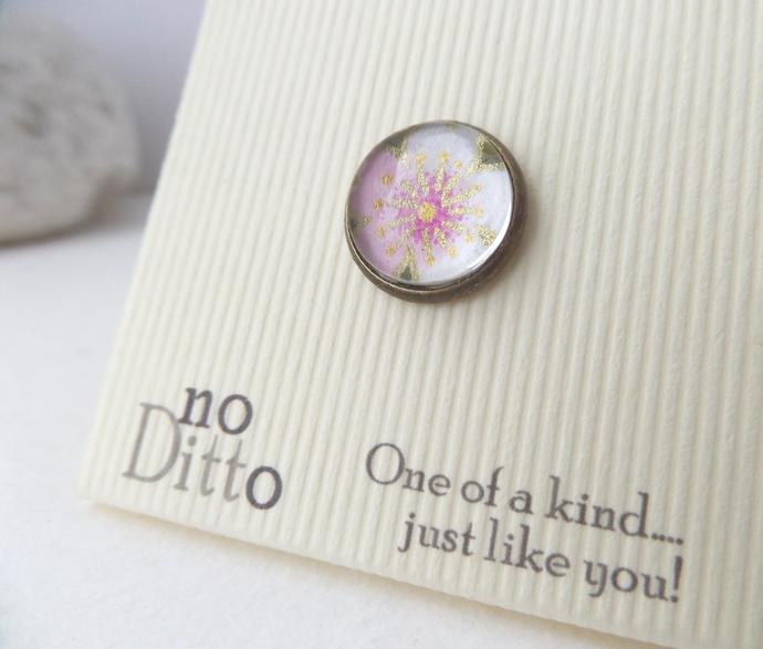 Japanese Blossom Flower Tie Tack - Bronze Lapel Pin - Japanese flower brooch pin