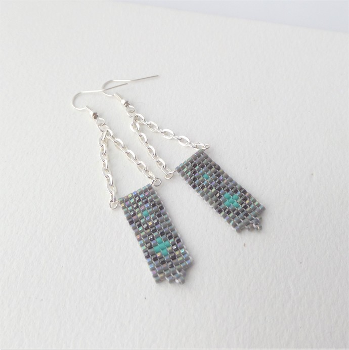 Grey and Silver Earrings, Bead woven, Grey and turquoise Argyle Long Dangle,