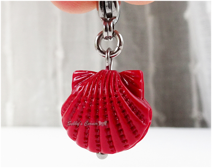 Seashell Pet Collar Charm, Red, Silver, Handmade, Zipper Pull