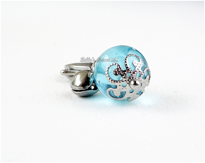 Aqua Blue Pet Collar Bell Charm, Handmade, Stainless Steel, Zipper Pull