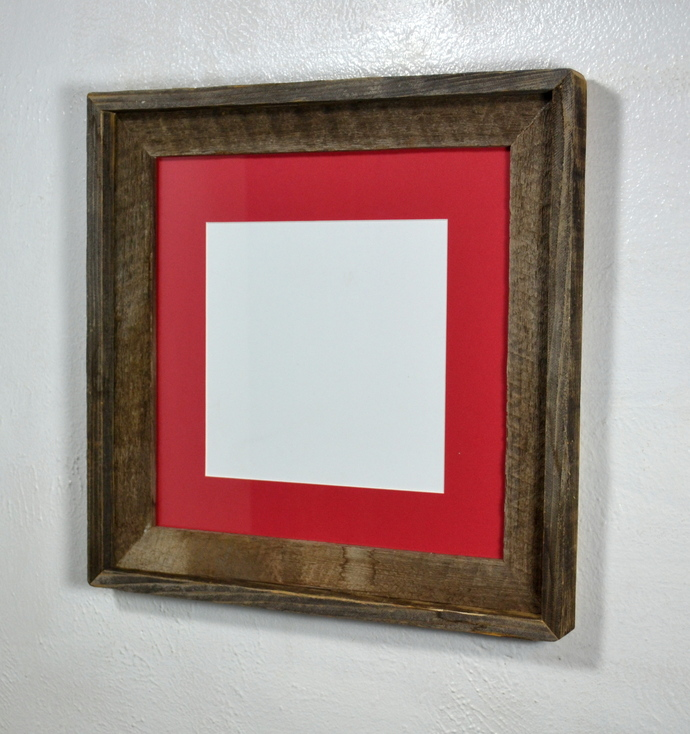 8x8 red mat in recycled wood picture frame rustic style