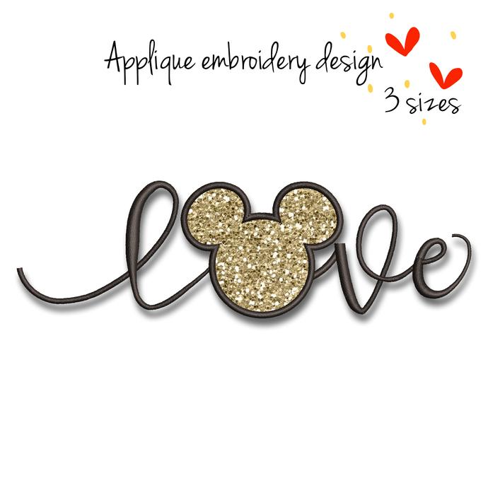 Mickey love Embroidery Machine Design Applique Disney designs instant digital
