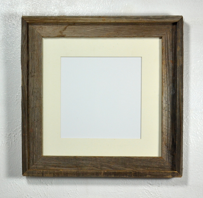 Reclaimed wood picture frame 8x8 off white mat rustic style