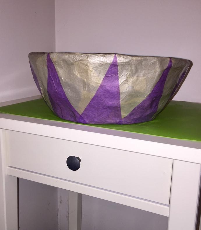 Purple  Silver Decorative Handmade Paper Mache Bowl