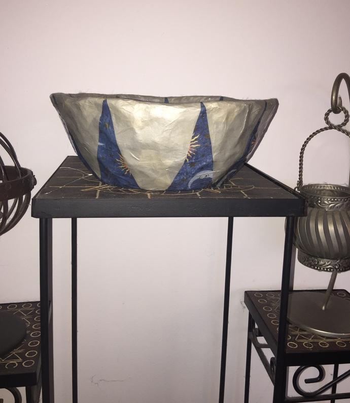 Celestial Paper Mache Decorative Bowl