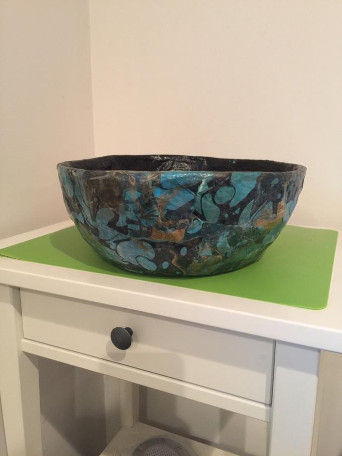 Paper Mache Decorative Teal, Black, Gold Swirl Bowl