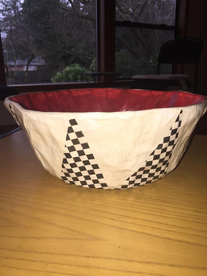 Black & White Checkered Handmade Decorative Paper Mache Bowl