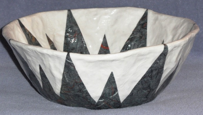 Black With  Bits of Assorted Colors Decorative Paper Mache Bowl