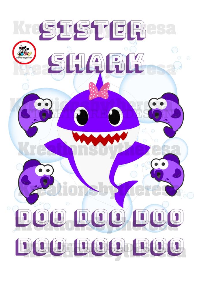 Sister Shark Inspired Iron On Transfer