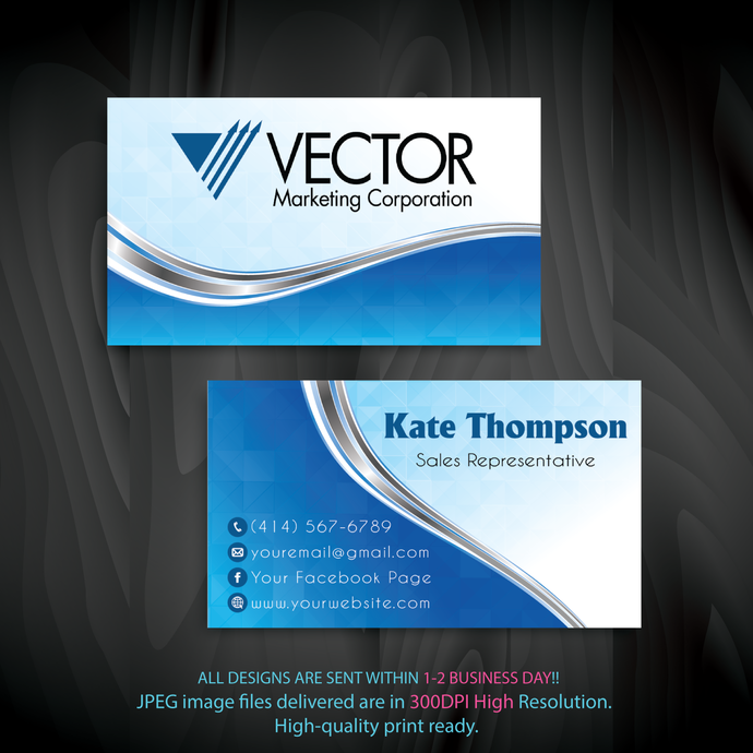 Vector Marketing Business Cards, Vector Marketing Cards, Personalized Vector
