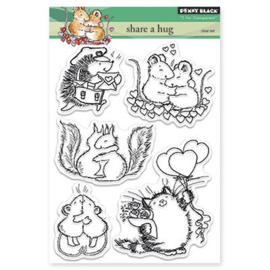 Penny Black Stamps - Share A Hug - Stamp Set for Valentines and Love Themed
