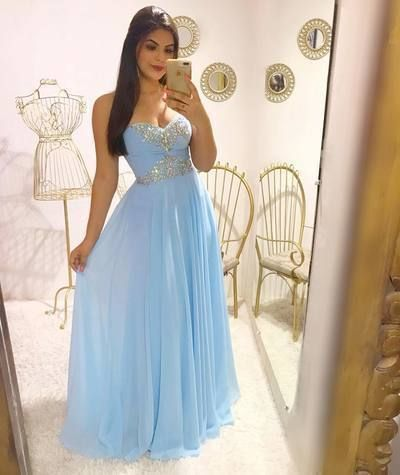 Blue Chiffon Long Evening Dress Sexy Strapless Sequined Beaded Floor Length