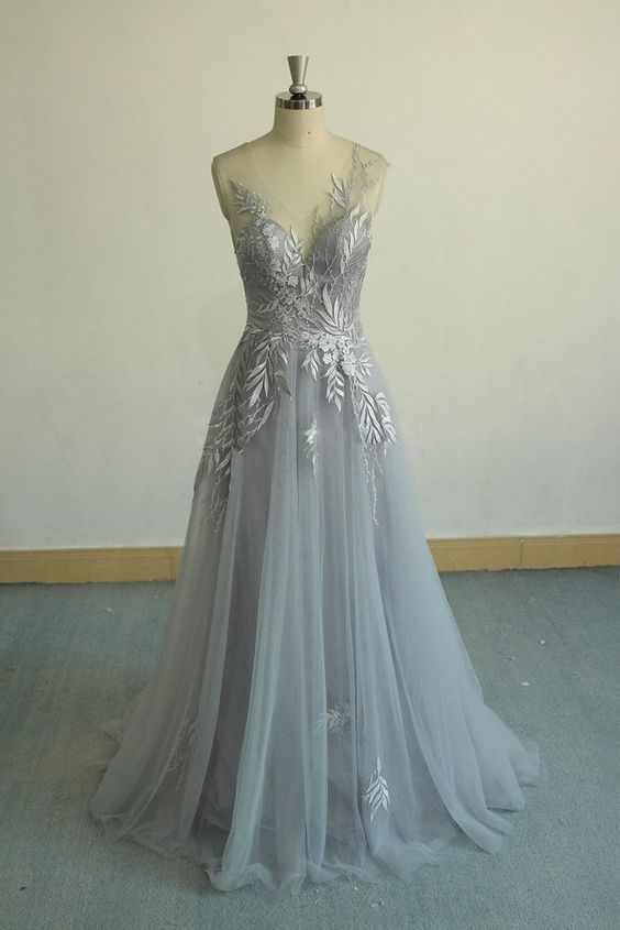 c45214fb2b Gorgeous gray v neck tulle lace long prom by ModelDressy on Zibbet