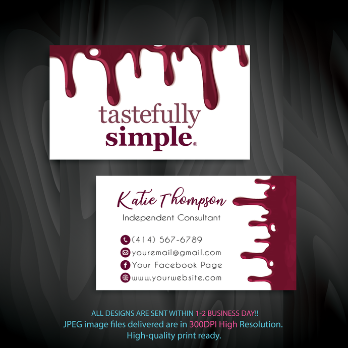 Custom Tastefully Simple Business Cards, Personalized Tastefully Simple Business