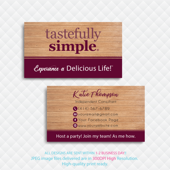 Personalized Tastefully Simple Business Cards, Custom Tastefully Simple Business