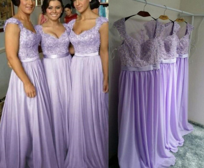 Beautiful Chiffon Lavender Bridesmaid Dress 2019, A-line Simple Bridesmaid