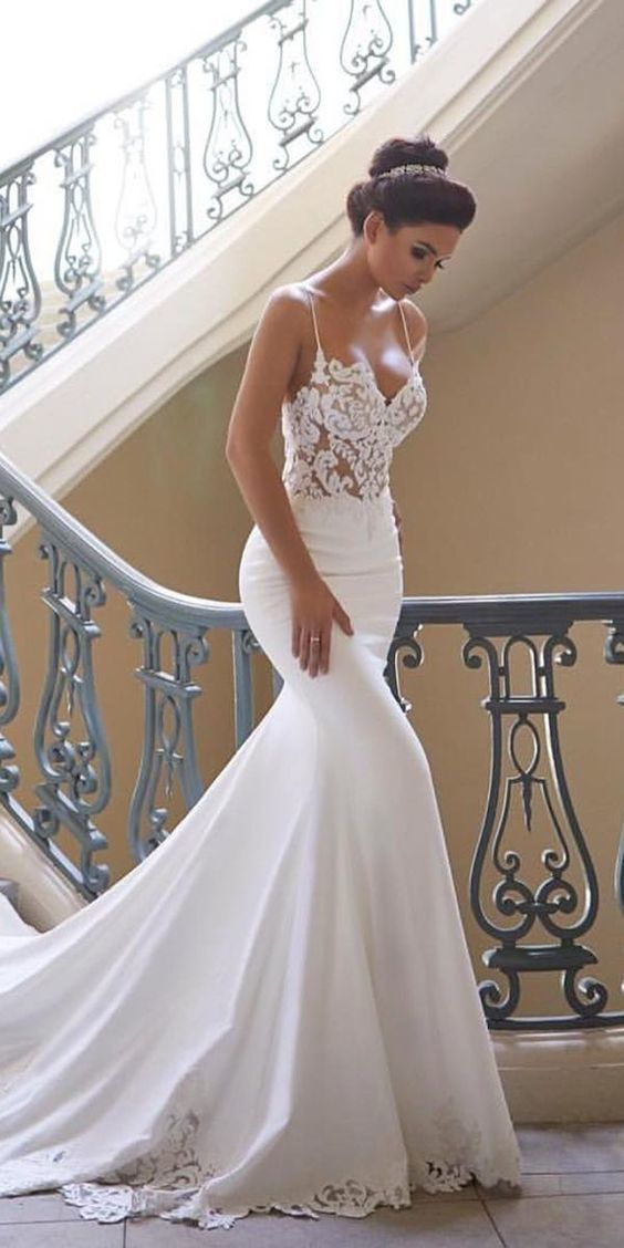 Charming Appliques Lace Mermaid Wedding Dresses with Straps, Sexy Sleeveless