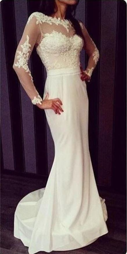2f1ec5fe2 Newest White Prom Dresses, Long Sleeves Prom by Hiprom on Zibbet