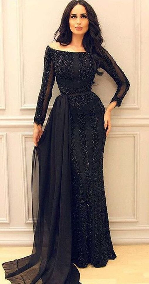 Long Sleeve Black Prom Dress,Long Prom