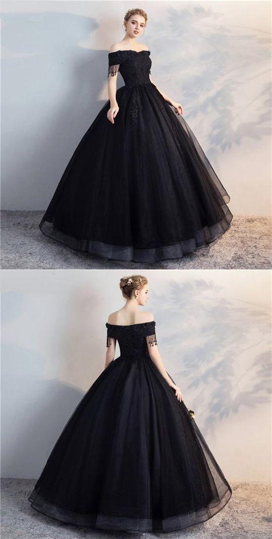 Black Off Shoulder Lace Applique Wedding Dresses,A Line Bridal Dresses