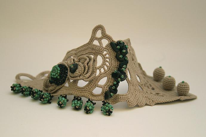 Beige Khaki wide cuff bracelet with Oya beaded lace. Crochet lace cuff bracelet.