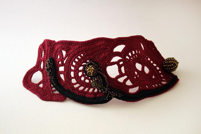Burgundy wide cuff bracelet. Crochet beaded jewelry. Statement jewelry. Soft