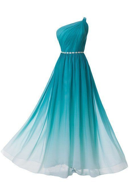 Gradient Floor Length Chiffon Evening Dress Featuring Ruched One Shoulder Bodice