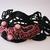 Crochet cuff bracelet with beaded elements. Irregular form wide cuff bracelet.