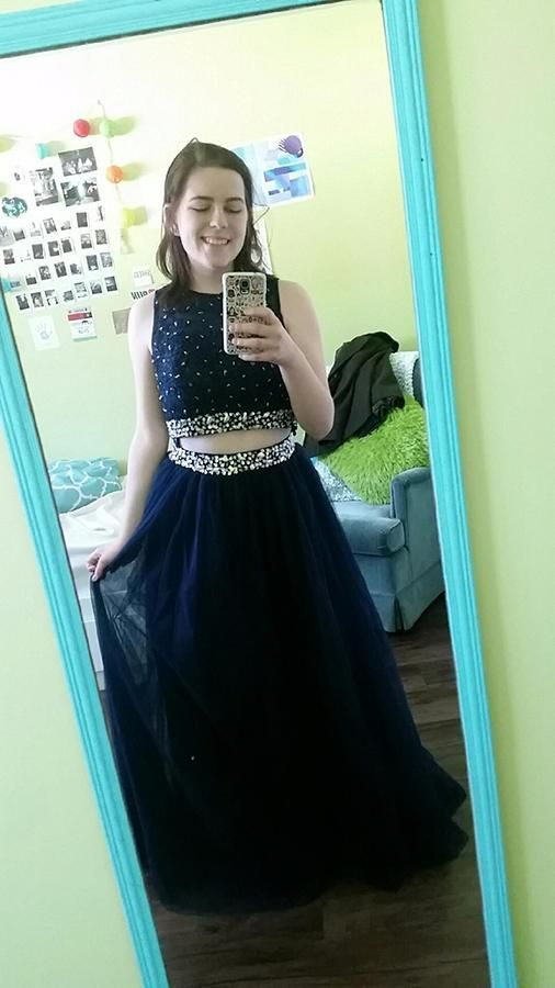 Tulle Navy Blue Two Piece Prom Dress, Beaded Homecoming Dress for Dance, Long
