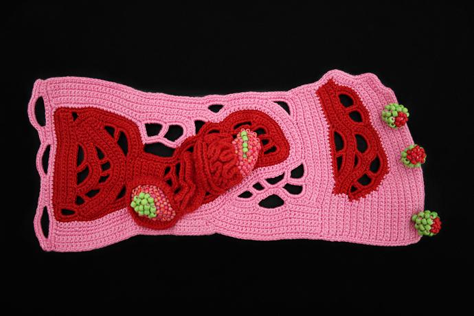 Crochet wide cuff bracelet. Soft wrist cuff bracelet. Fiber art jewelry.
