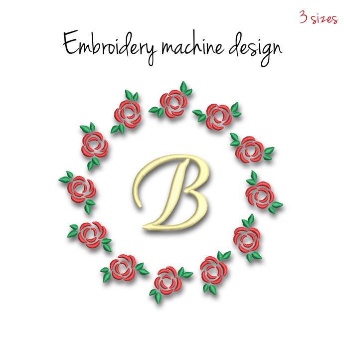 Circle Rose monogram frame embroidery machine design