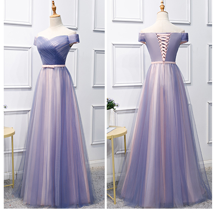 d61c6d2dd99 Blue and Pink Long Prom Dress 2019