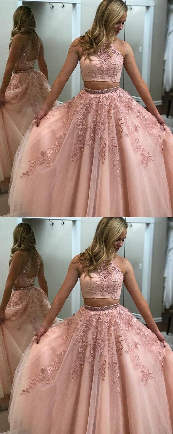 fb54930416e Blush Pink Prom Dresses Two Piece Ball Gowns Quinceanera Dresses Beaded High