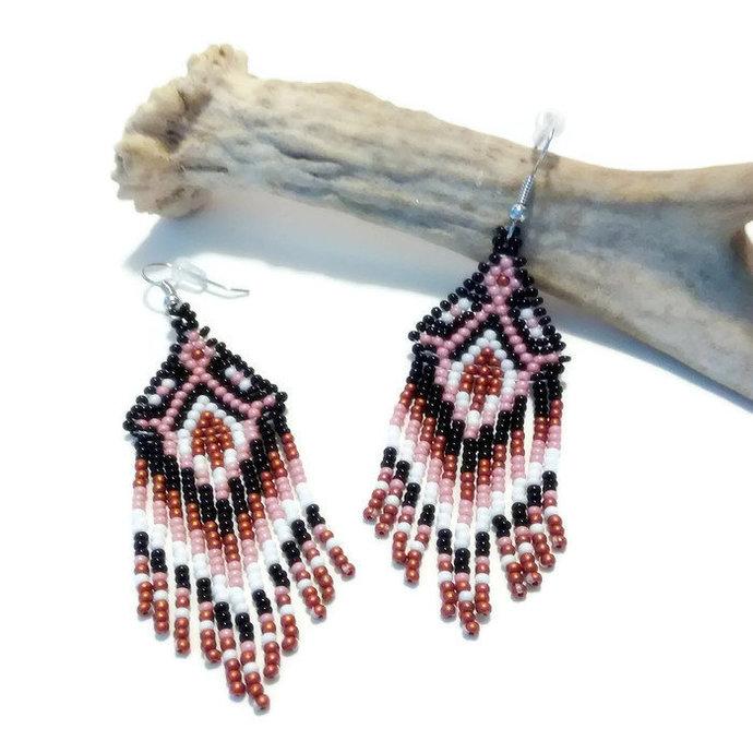 Native American Beaded Southwest Fringe Earrings - Rose & Copper