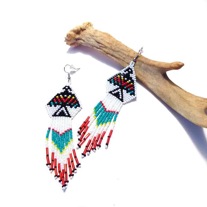 Native American Beaded Thunderbird Fringe Earrings
