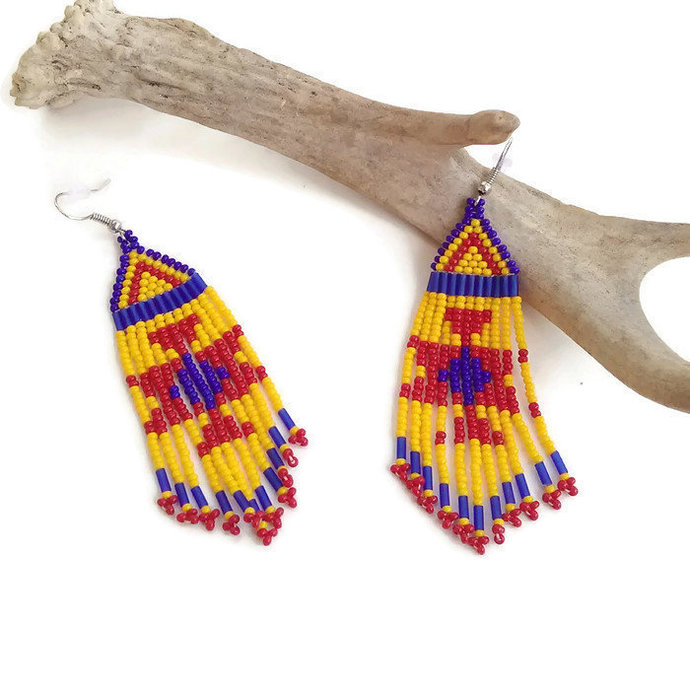 Southwest Style Butterfly Fringe Earrings with Native Inspired Beadwork - Yellow