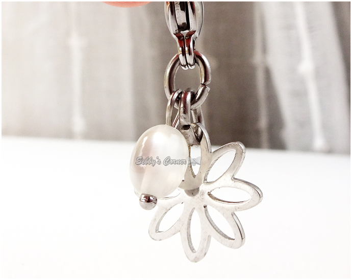 Flower Silhouette Charm, Silver Tone, White, Pet Charms, Pet Accessories, Zipper