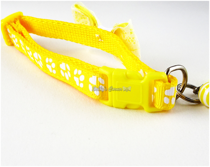 Yellow Adjustable Pet Collar Bow with Charms, Pet Accessories, Cat Lovers