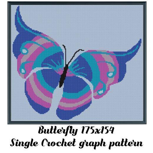Butterfly Crochet Graph Pattern 175x154