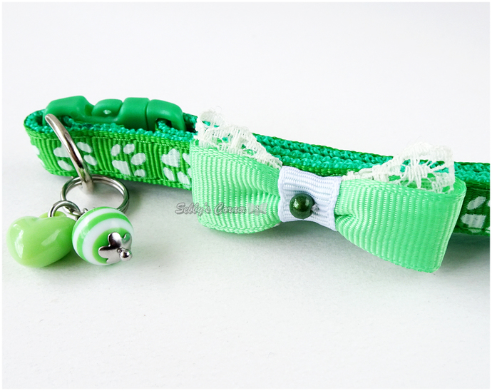 Green Cat Bow Tie Collar with Charms, Handmade Pet Accessories