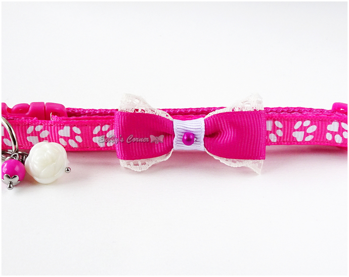 Pink Cat Collar with Bow Tie and Charms, Pet Accessories, Cute Gifts, Photo