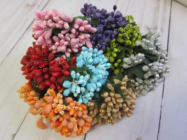 Flower Spray Filler Floral Bead Berry Spray  - 12 pcs Pink, Lilac, Green, Gold,