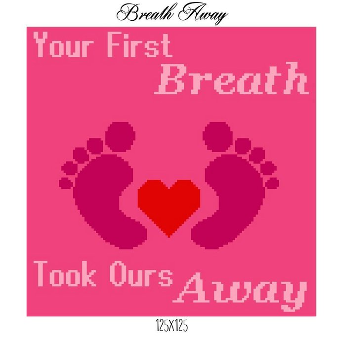 Breath Away Pink Crochet Graph Pattern 125x125